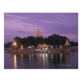 Illuminated Mariamman Teppakulam tank, Madurai, Postcard