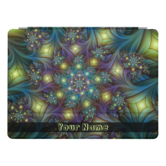 Illuminated modern blue purple Fractal Art Name iPad Pro Cover
