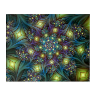 Illuminated modern blue purple Fractal Pattern Acrylic Wall Art