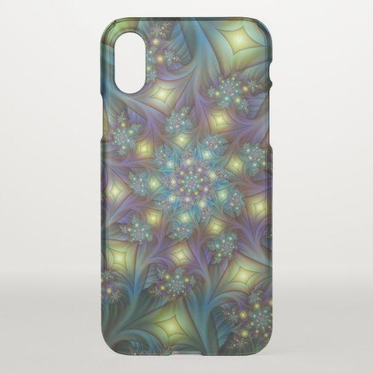 Illuminated modern blue purple Fractal Pattern iPhone X Case