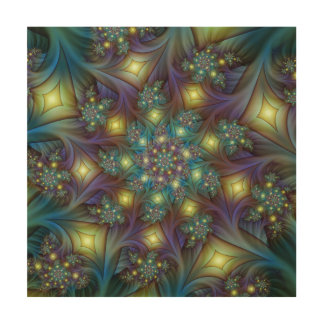 Illuminated modern blue purple Fractal Pattern Wood Canvases