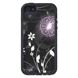 Illuminated Purple butterflies and flowers design Case For The iPhone 5
