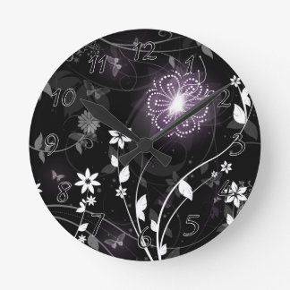 Illuminated Purple butterflies and flowers design Round Clock