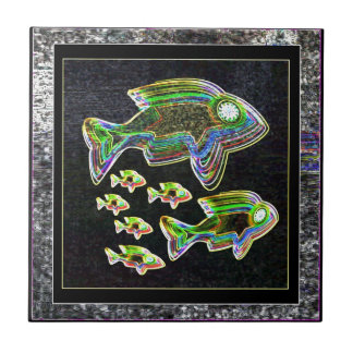 Illuminated Reflection : Fish in Flood Light Tile