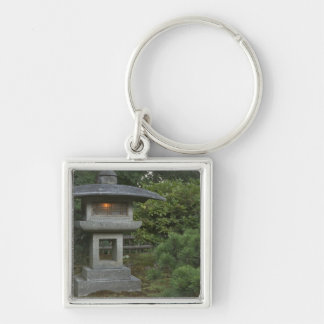 Illuminated stone lantern in Japanese Garden Silver-Colored Square Key Ring
