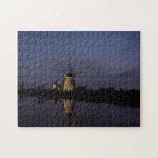 Illuminated windmill at Blue Hour jigsaw puzzle