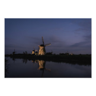Illuminated windmill at Blue Hour photo print