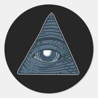 Illuminati All Seeing Eye Pyramid Symbol Classic Round Sticker