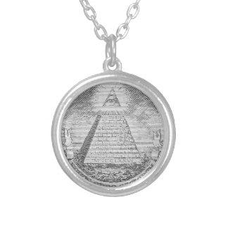 illuminati logo round pendant necklace