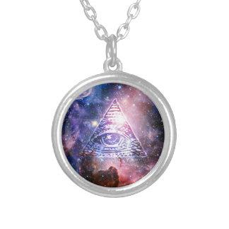 Illuminati nebula silver plated necklace