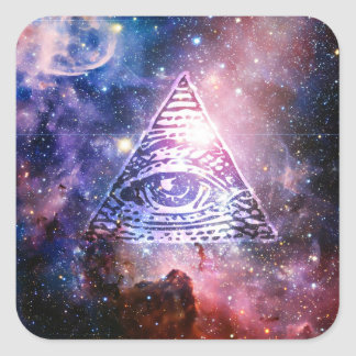 Illuminati nebula square sticker