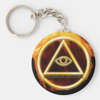 Illuminati on Fire Key Ring