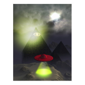 Illuminati Pyramid and UFO Postcard