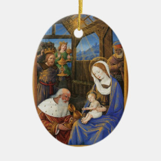 Illumination of the Adoration Christian Christmas Ceramic Ornament