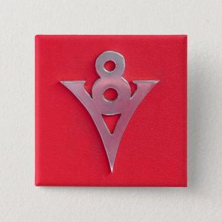 Illusion Chrome V8 Emblem on Red Leather 15 Cm Square Badge