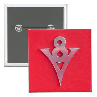 Illusion Chrome V8 Emblem on Red Leather 15 Cm Square Badge