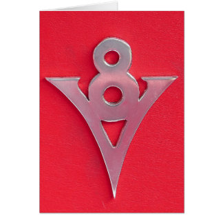 Illusion Chrome V8 Emblem on Red Leather Greeting Card