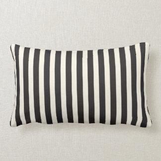 Illusion Stripes Vertical Pattern Black and Cream Lumbar Cushion
