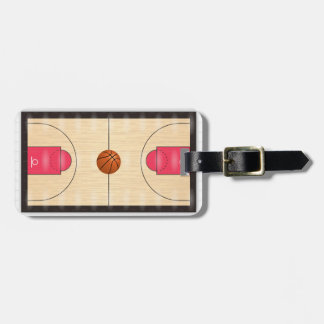 Illustrated Basketball Court Luggage Tag