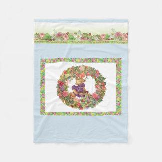 Illustrated Bear Bearing Florals Fleece Blanket