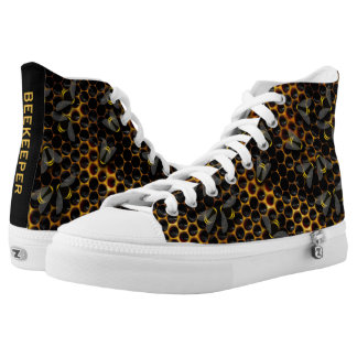 Illustrated bees on a yellow honeycomb hive high tops