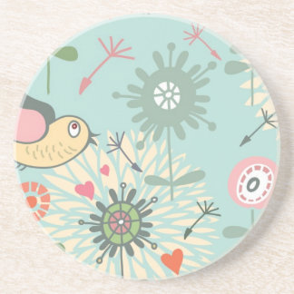 Illustrated Birds and Spring Flowers Beverage Coasters