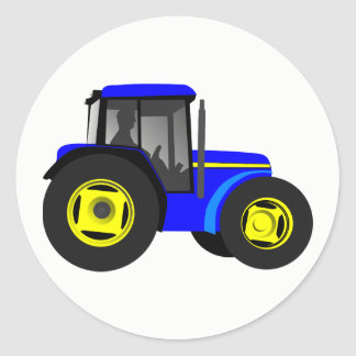Illustrated Blue Tractor Round Sticker
