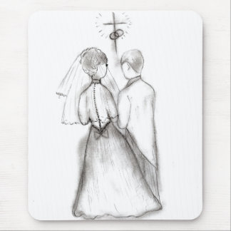 Illustrated Bride and Groom Mouse Pad