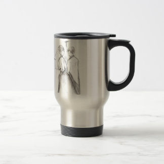 Illustrated Bride and Groom Stainless Steel Travel Mug
