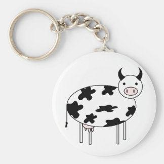 Illustrated Cow Key Ring