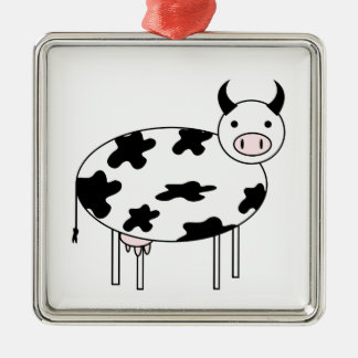 Illustrated Cow Metal Ornament