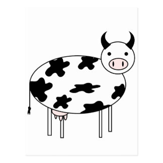 Illustrated Cow Postcard