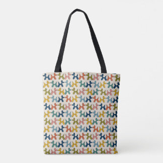 Illustrated doggy pattern tote bag