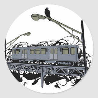 Illustrated El Train & Crows Round Sticker