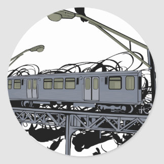 Illustrated El Train & Crows Round Sticker