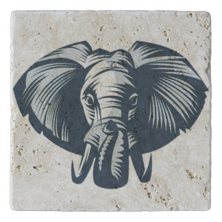 Illustrated Elephant head Trivet