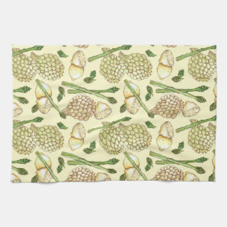 Illustrated Food Pattern: Artichokes &  Asparagus Tea Towel