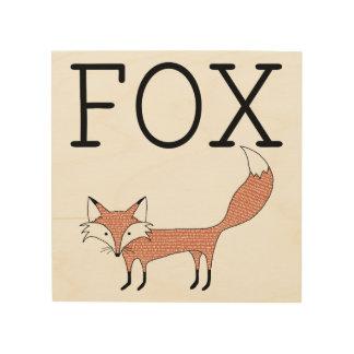 Illustrated Fox Wood Canvas