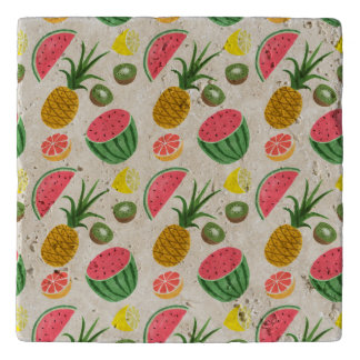 Illustrated Fruit background Trivet
