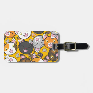 Illustrated group of cats luggage tag