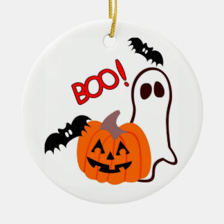 Illustrated Halloween Ghost and  Pumpkin Ceramic Ornament