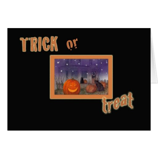 illustrated HAUNTED HOUSE TRICK OR TREAT GREETINGS Greeting Card