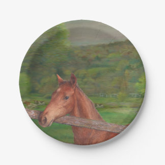 Illustrated horse Summer Meadow Paper Plate