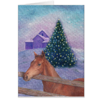 Illustrated Horse Winter Nocturne Card