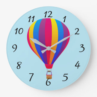 Illustrated Hot Air Ballown Large Clock