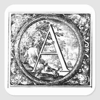Illustrated Initial (Italian) - A Square Sticker