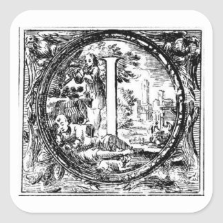 Illustrated Initial  (Italian Woodcut) Square Sticker