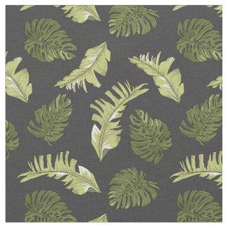 Illustrated Jungle Leaves Dark Pattern Fabric