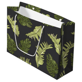 Illustrated Jungle Leaves Dark Pattern Large Gift Bag