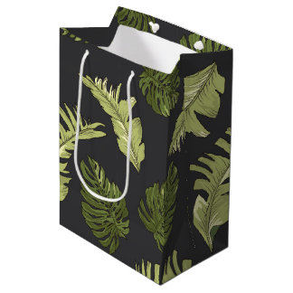 Illustrated Jungle Leaves Dark Pattern Medium Gift Bag
